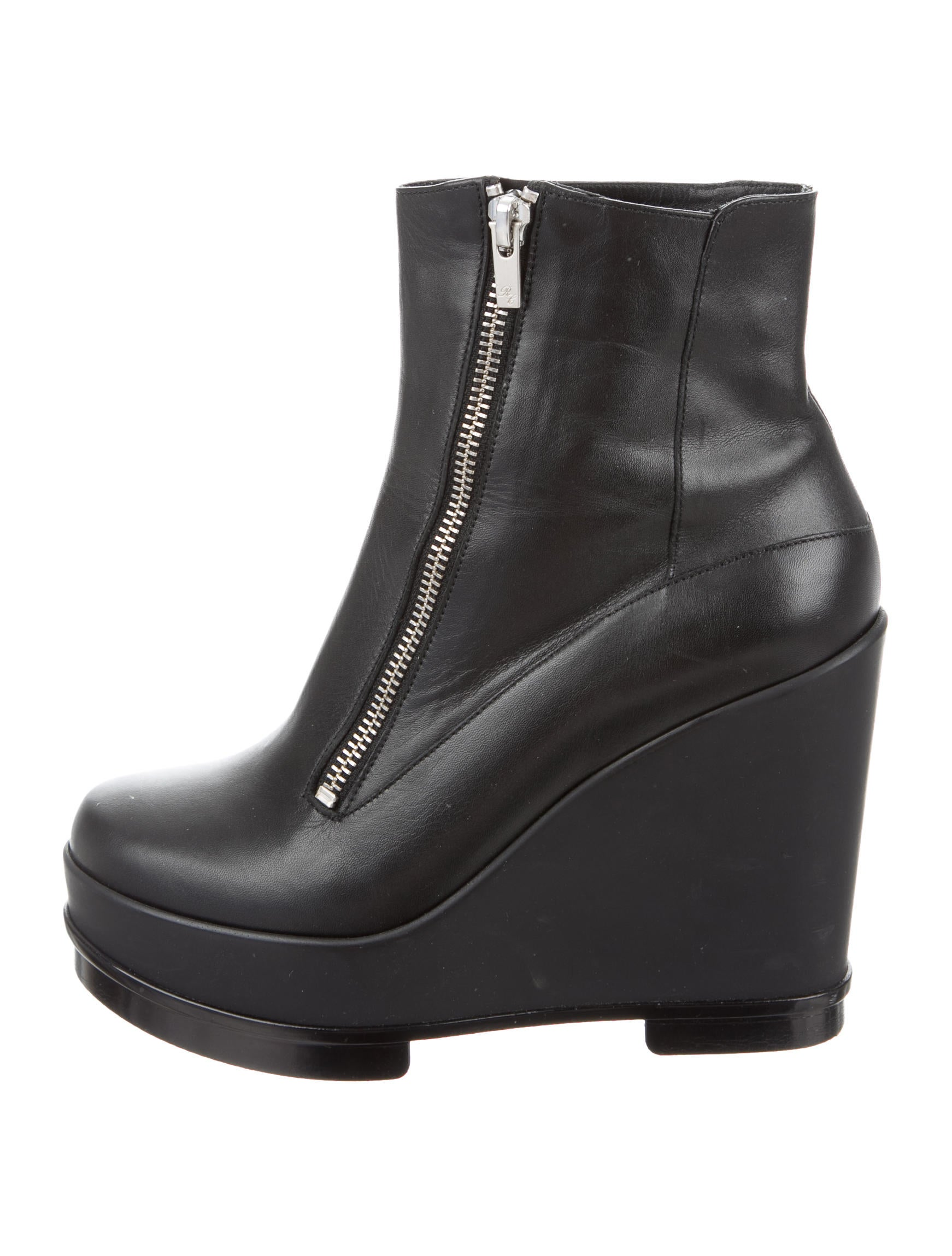 robert clergerie leather wedge ankle boots shoes