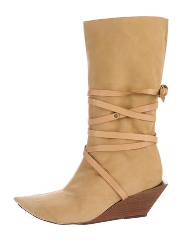 robert clergerie pointed toe wedge boots shoes