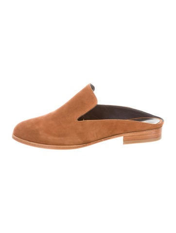 Robert Clergerie Suede Round-Toe Mules None