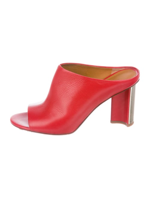 Robert Clergerie Leather Slides Red