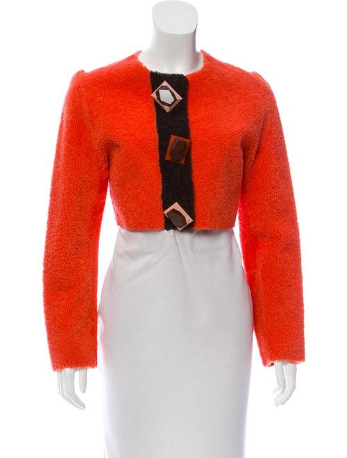 Roksanda Cropped Shearling Jacket Coral