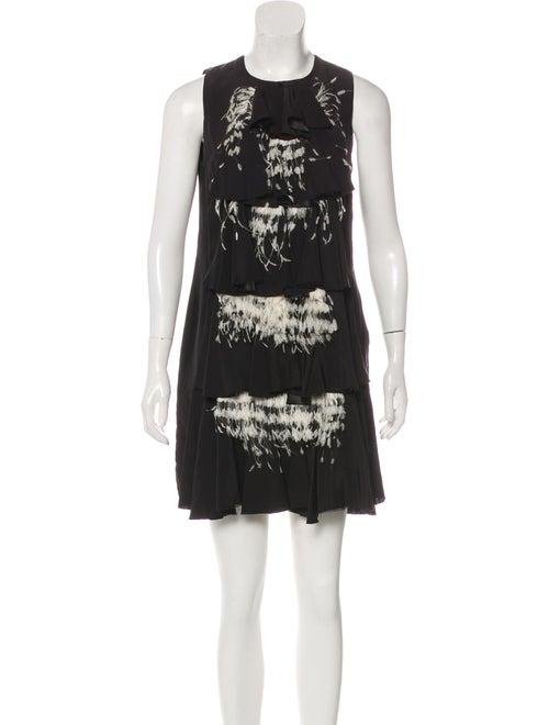 Roksanda Feather-Accented Mini Dress Black