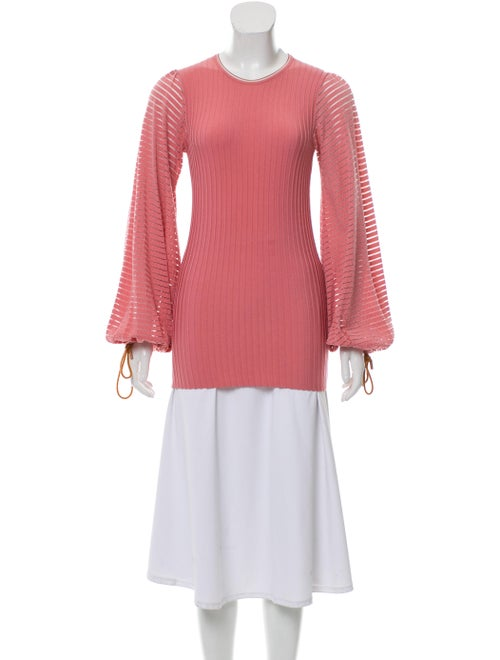 Roksanda Puff Sleeve Striped Top Pink