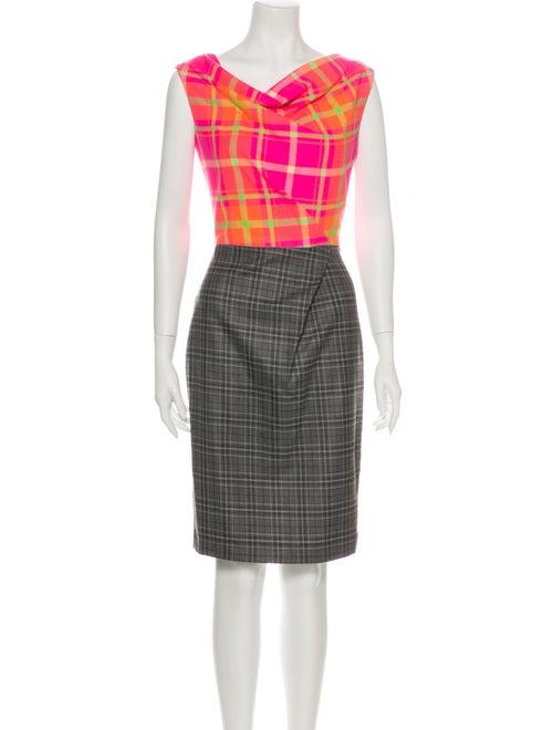 Roksanda Plaid Print Knee-Length Dress Pink