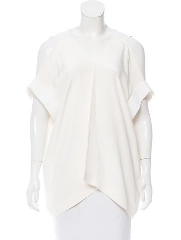 Roland Mouret Silk Cold Shoulder Top None