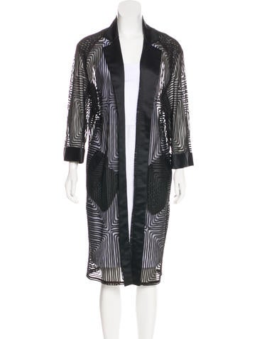 Roland Mouret Patterned Mesh Coat w/ Tags None