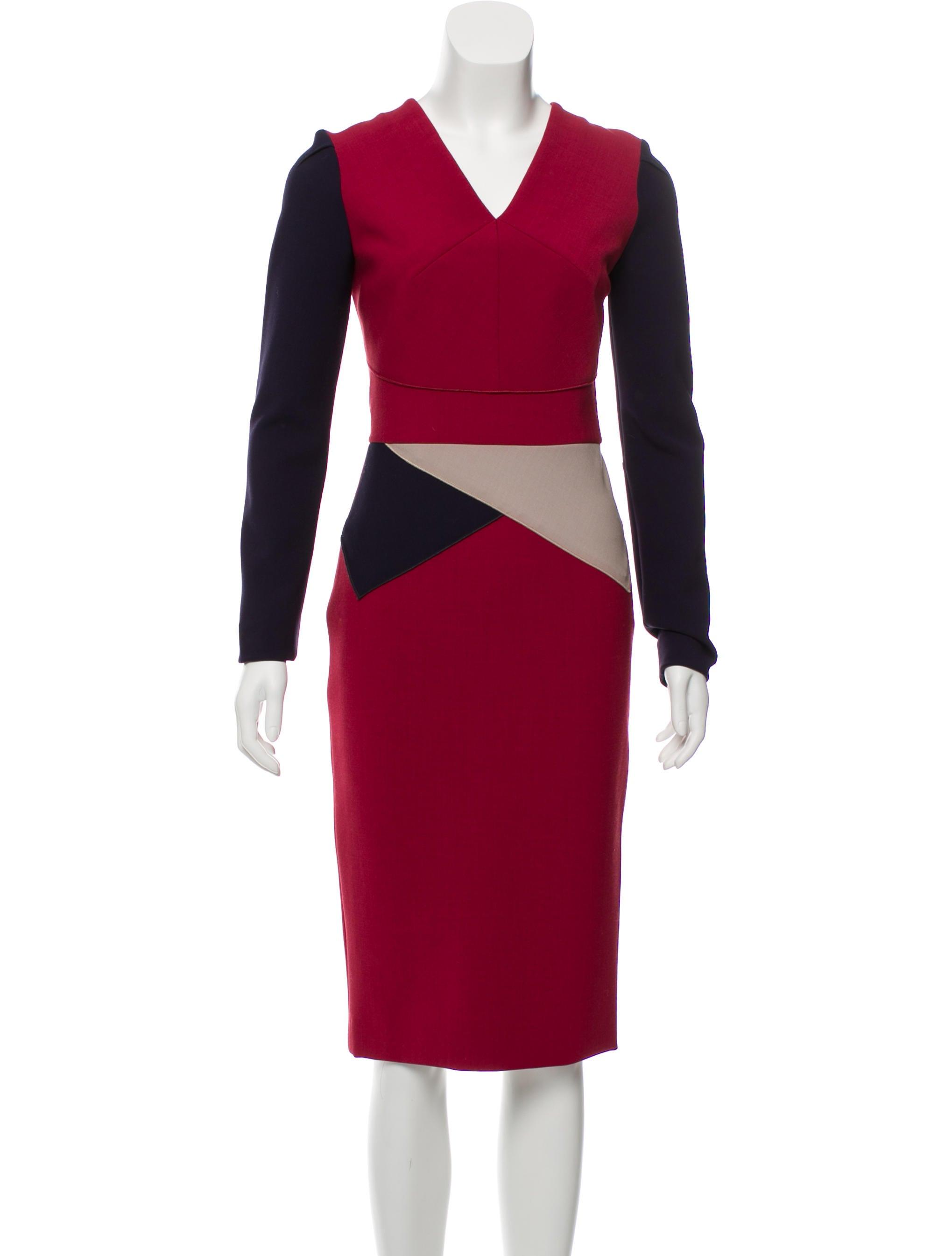 df6f0c76 Roland Mouret Long Sleeve Colorblock Dress - Clothing - ROL26379 ...