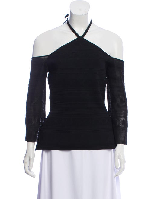 Roland Mouret Halter Short Sleeve Top Black