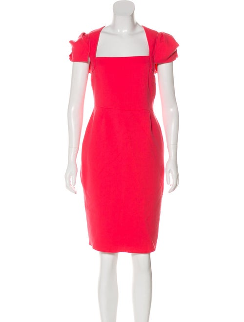 Roland Mouret Square Neck Knee-Length Dress Coral