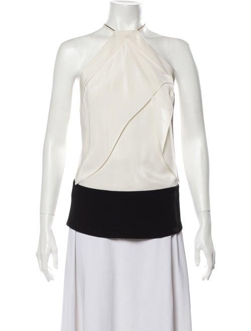 Roland Mouret Silk Colorblock Pattern Blouse White