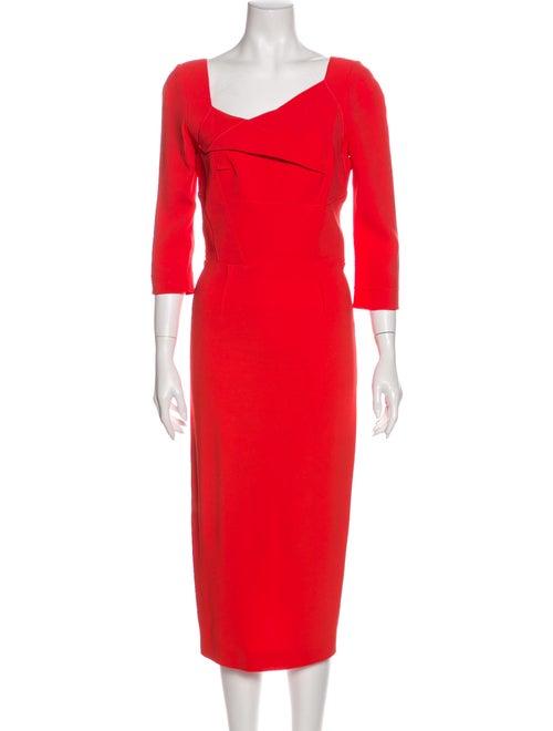 Roland Mouret Asymmetrical Midi Length Dress Pink