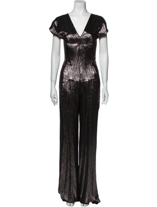 Roland Mouret V-Neck Jumpsuit Metallic
