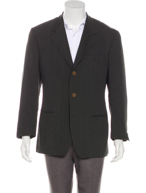 Romeo Gigli Striped Wool Blazer black