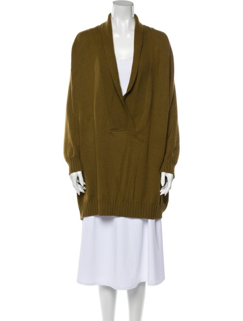 Romeo Gigli Cashmere Plunge Neckline Sweater Green