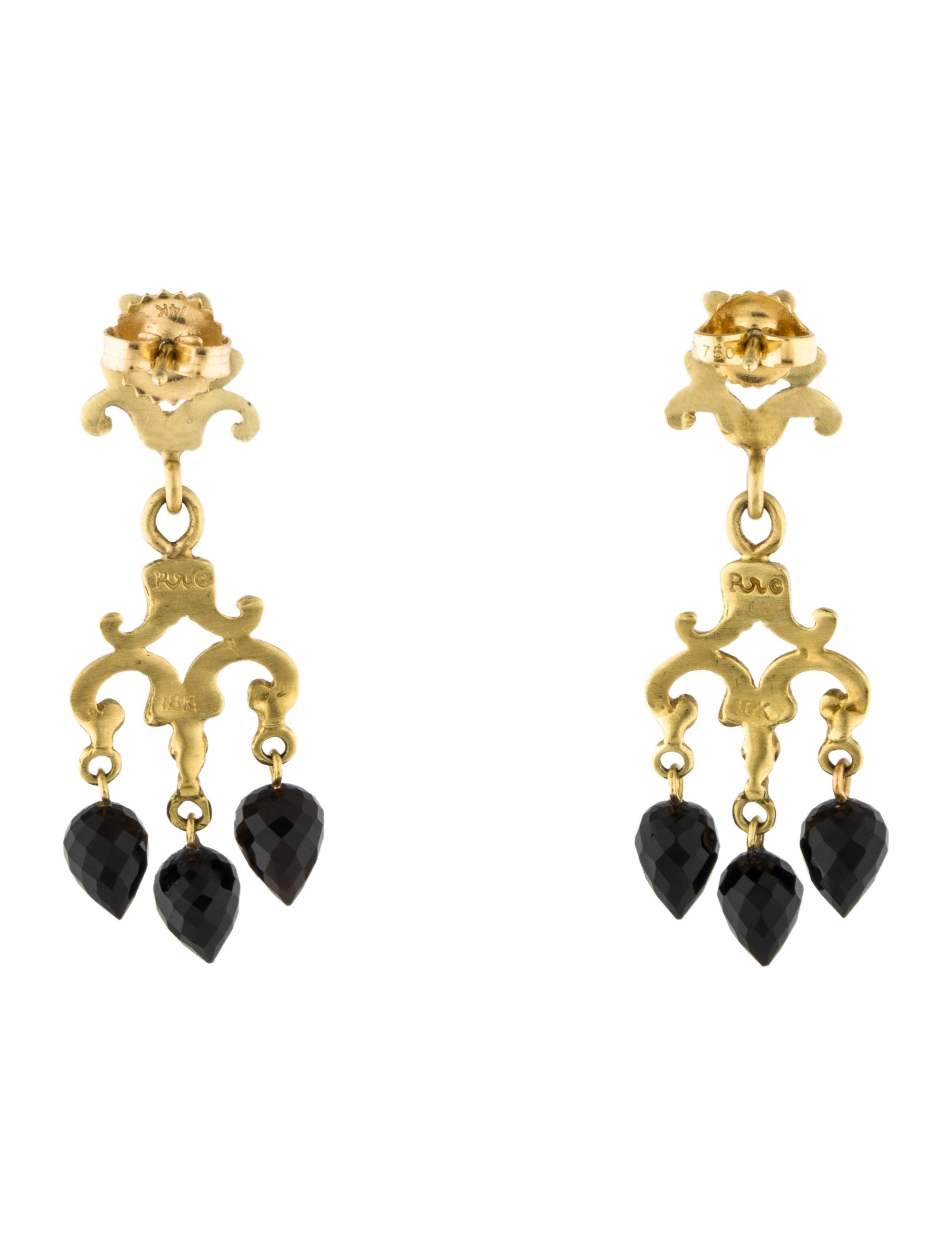 Robin rotenier 18k onyx chandelier earrings earrings ror20103 18k onyx chandelier earrings aloadofball Gallery