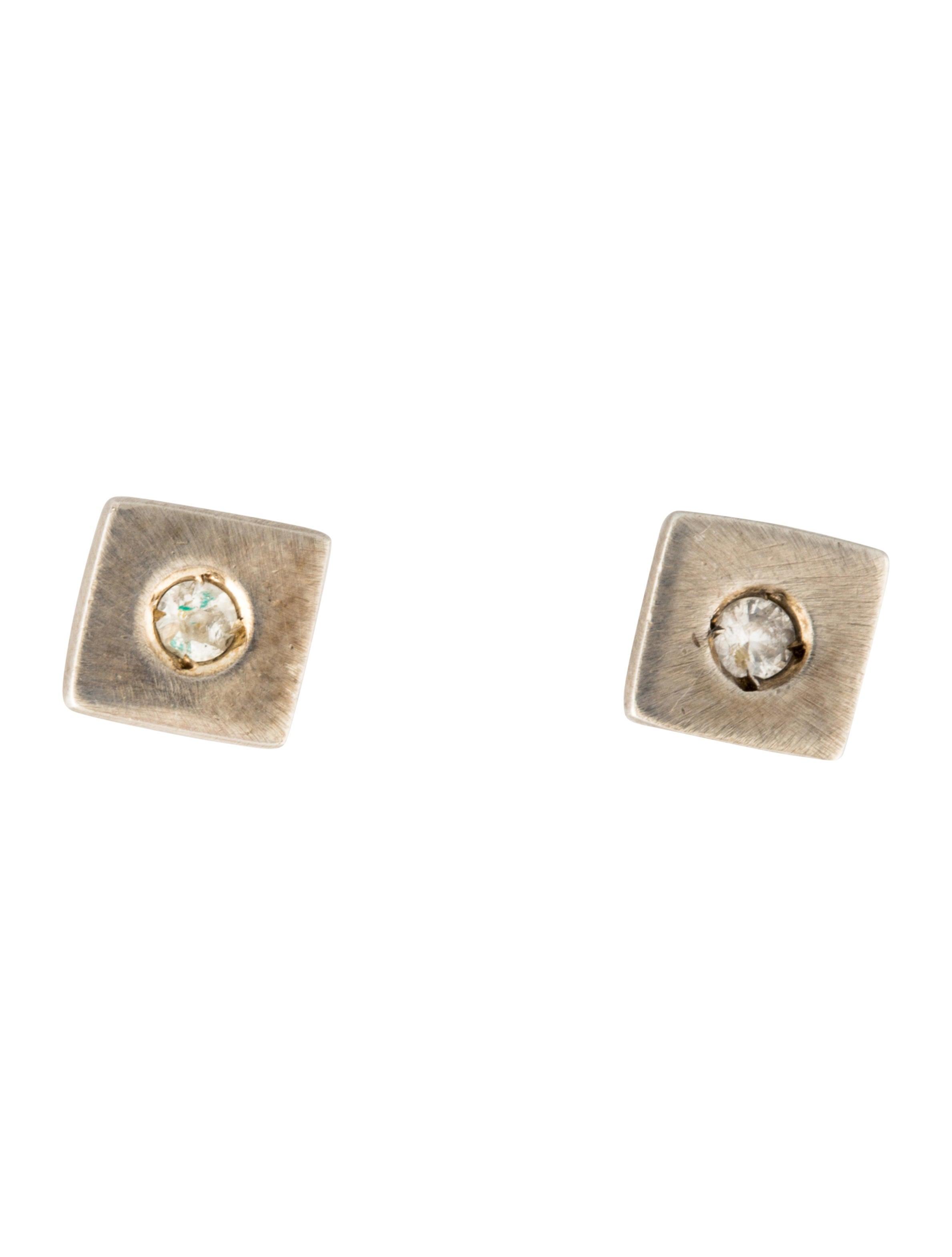 robin rotenier white sapphire square stud earrings