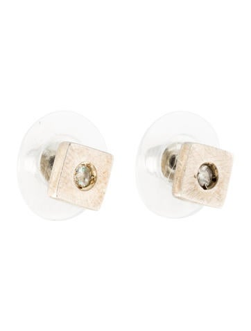 robin rotenier white sapphire square stud earrings