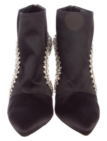 Crystal Embellished Cutout Booties