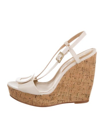 Roger Vivier Buckle-Embellished Cork Wedges None