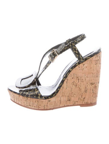 Roger Vivier Buckle-Accented Embossed Wedges None
