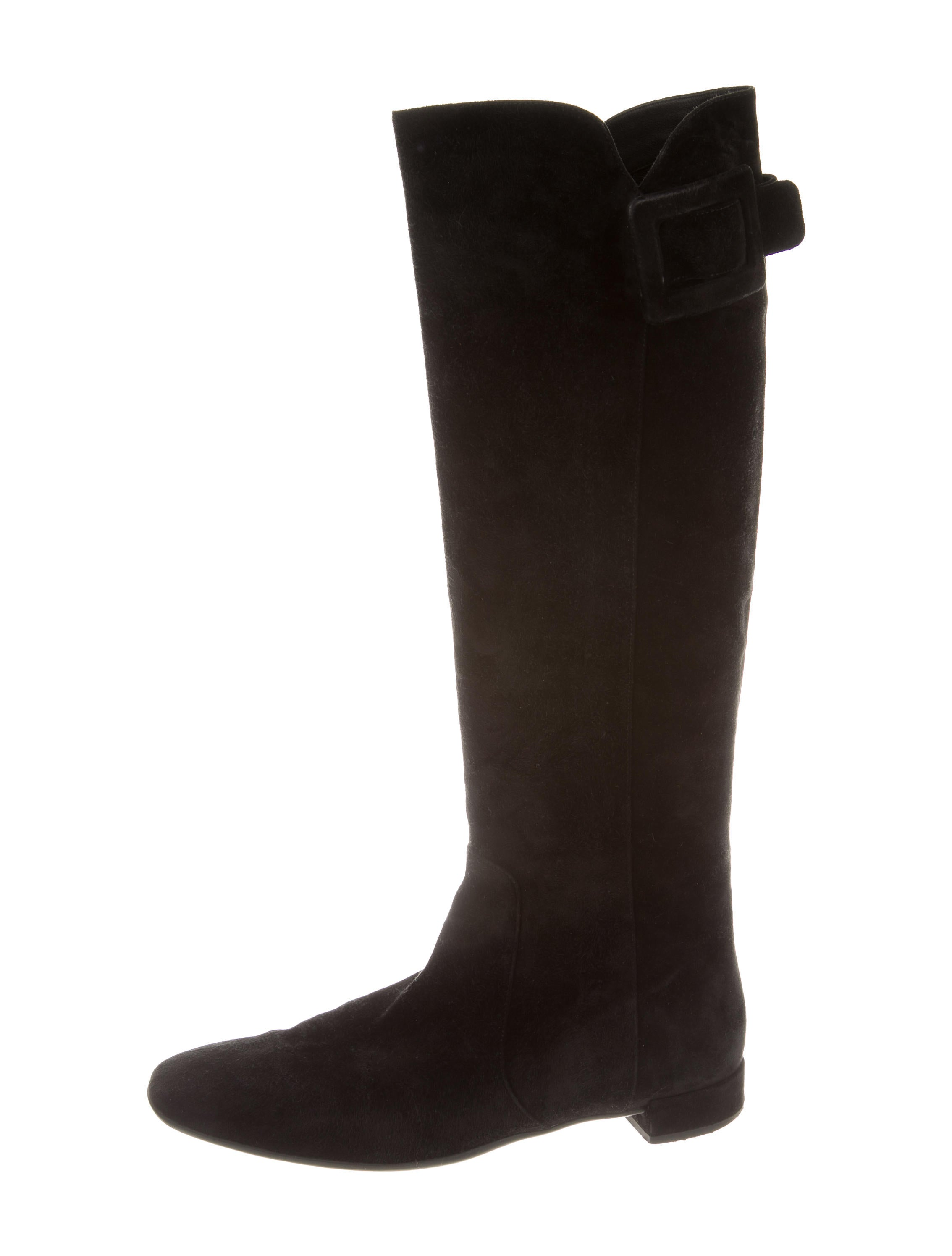 roger vivier suede buckle embellished boots shoes rov23622 the realreal