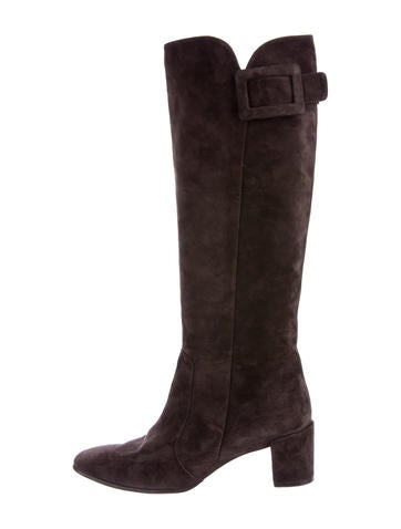 Roger Vivier Buckle-Accented Suede Boots None