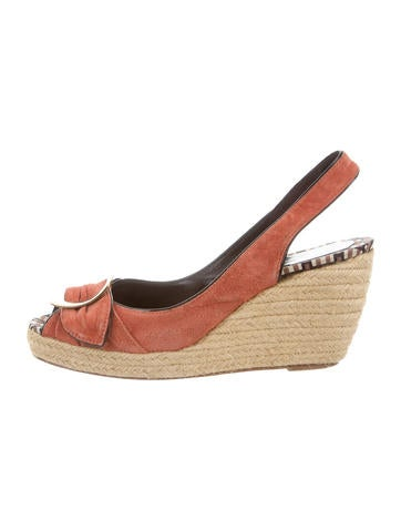 Roger Vivier Suede Buckle Wedges None