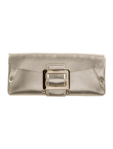 Roger Vivier Leather Stud-Accented Clutch None