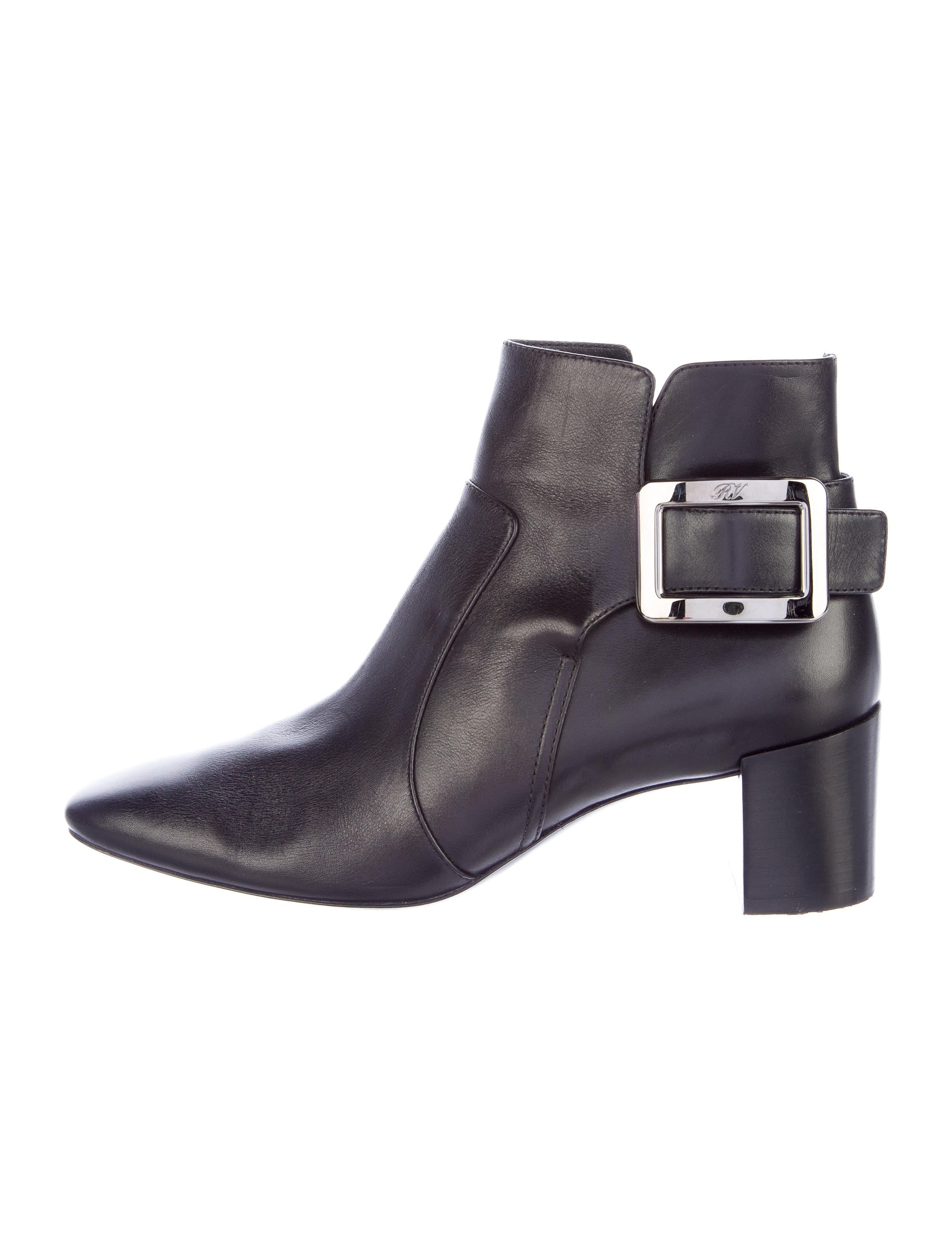 roger vivier buckle leather ankle boots shoes rov24411