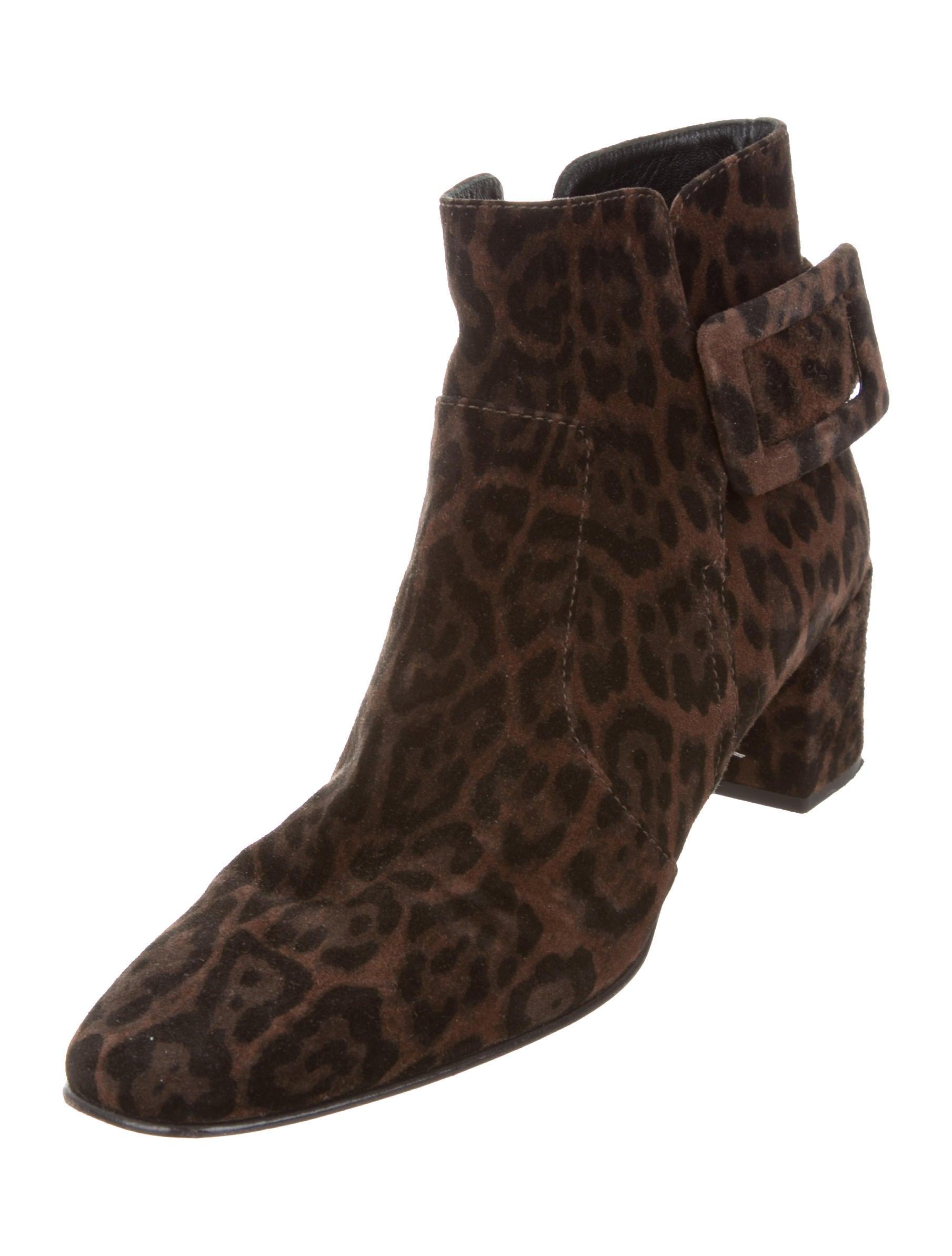 Roger Vivier Leopard Print Ankle Boots Shoes Rov24809