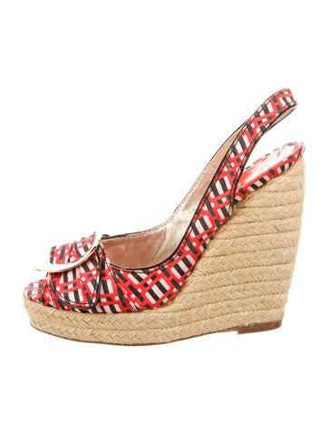 Roger Vivier Buckle-Accented Espadrille Wedges None