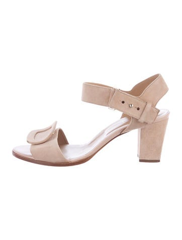 Roger Vivier Suede Buckle-Accented Sandals None