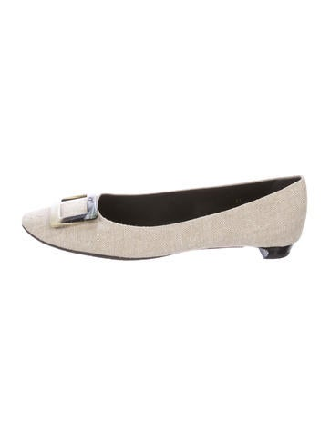 Roger Vivier Buckle-Accented Canvas Flats None