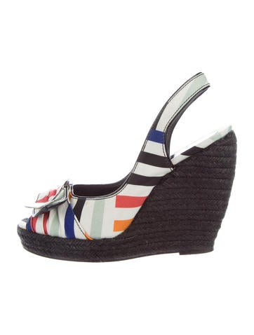 Roger Vivier Striped Wedge Sandals None