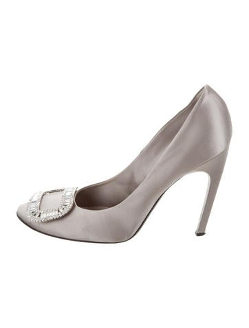 Roger Vivier Satin Crystal Buckle Pumps None