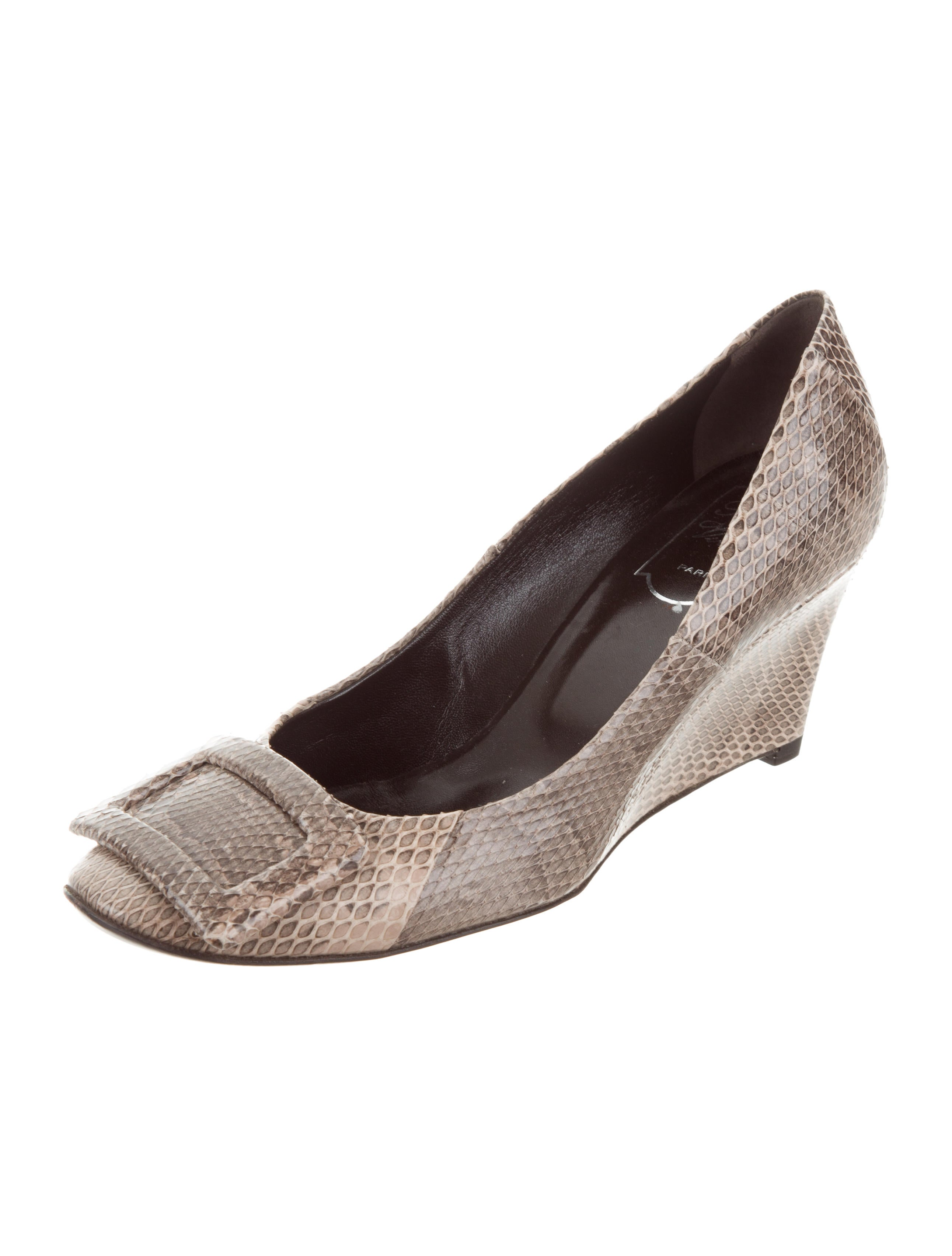 geniue stockist cheap price find great Roger Vivier Snakeskin Round-Toe Wedges fashion Style for sale O5jgf