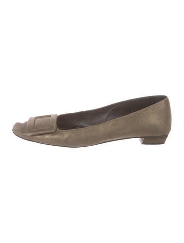 Roger Vivier Suede Buckle-Accented Flats None