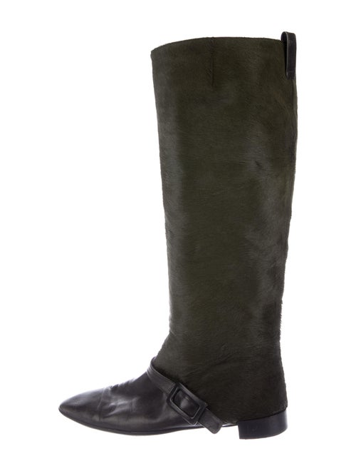 Roger Vivier Ponyhair Riding Boots Green