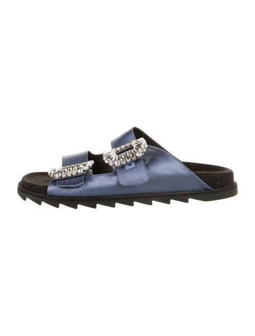 Roger Vivier Crystal Embellishments Slides Blue
