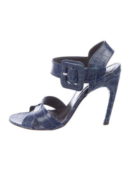 Roger Vivier Crocodile Slingback Sandals Blue