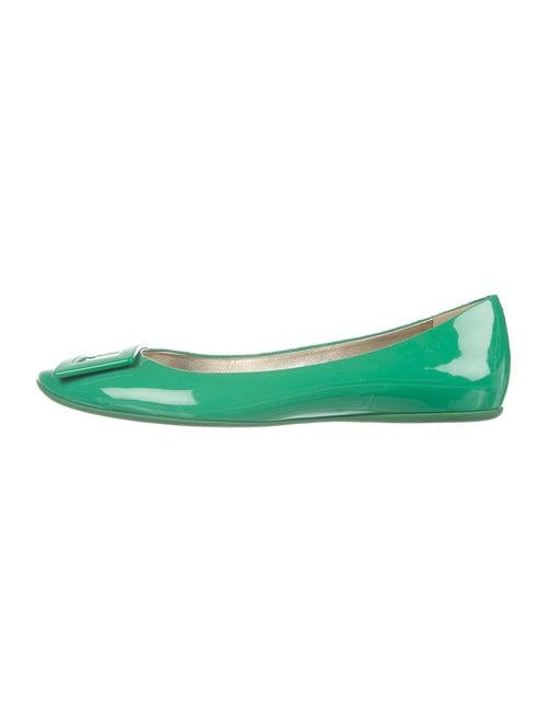 Roger Vivier Patent Leather Ballet Flats Green