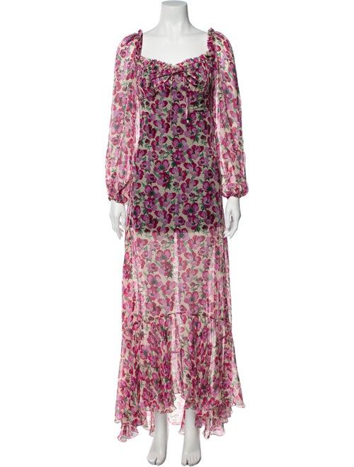 Raquel Diniz Silk Long Dress Pink