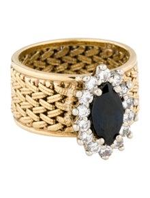 Ring 18K Sapphire & Diamond Cocktail Ring