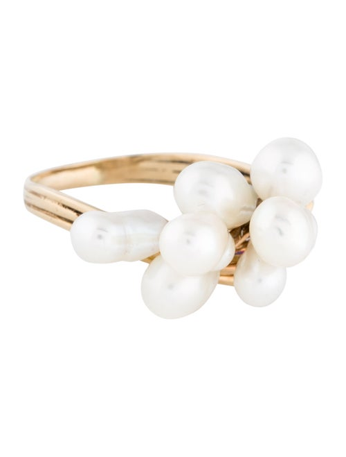 14K Pearl Cocktail Ring yellow