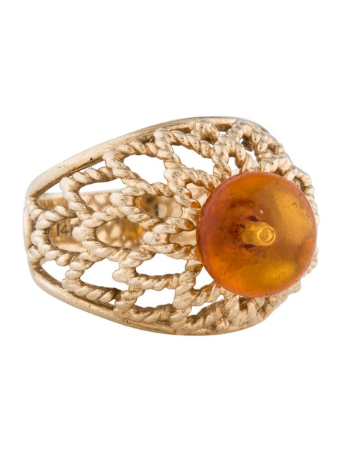 14K Amber Cocktail Ring yellow