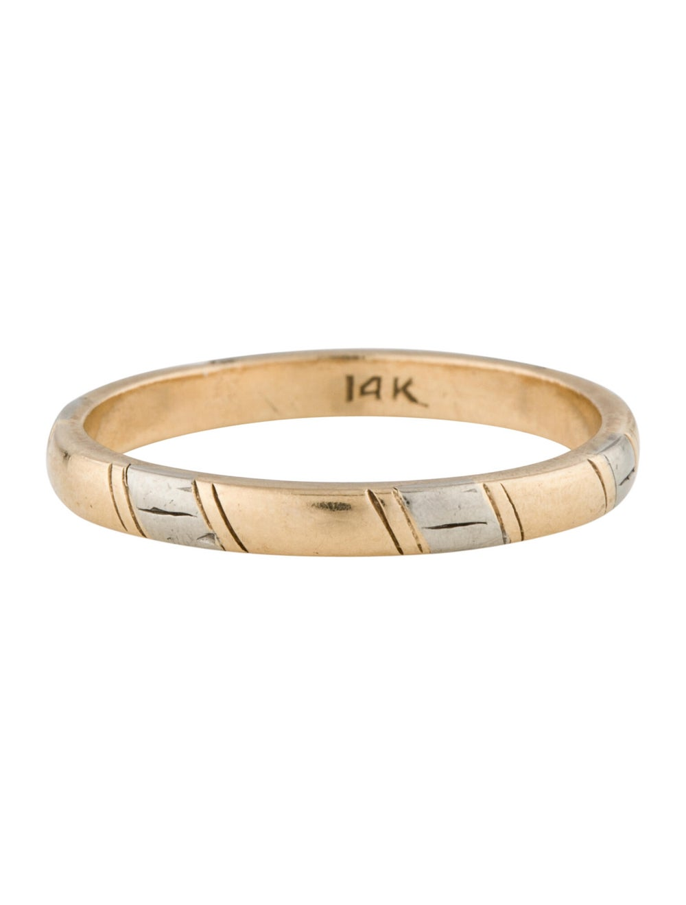 Ring Two-Tone 14K Band Yellow - image 3