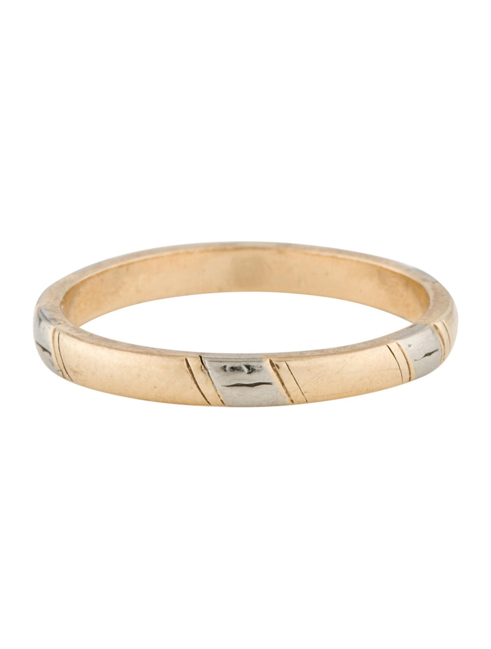 Ring Two-Tone 14K Band Yellow - image 4
