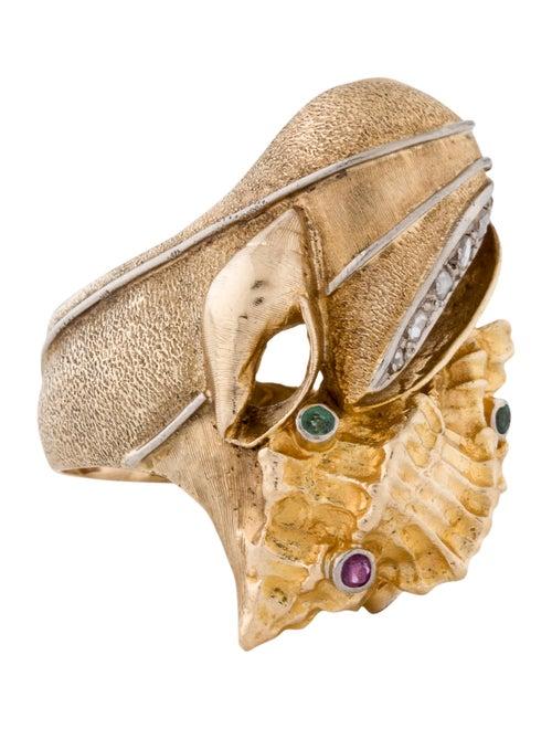 Emerald, Ruby & Diamond Seashell Ring yellow