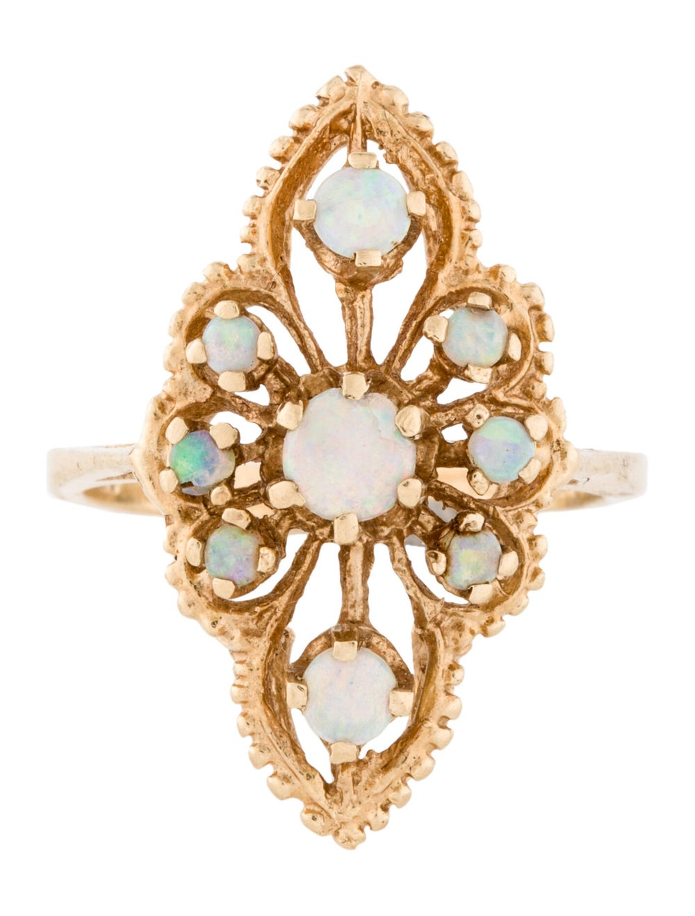 14K Opal Cocktail Ring yellow - image 3