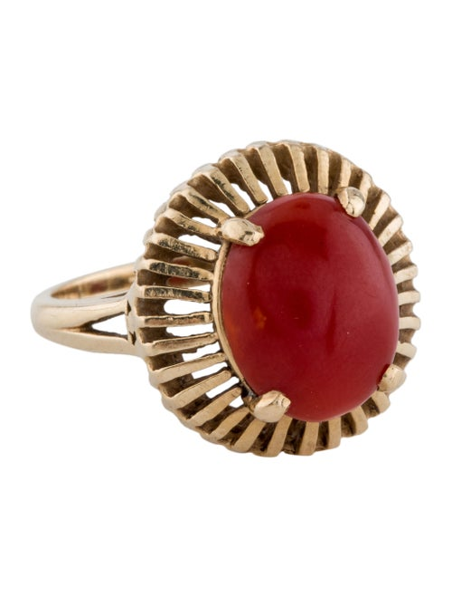 14K Coral Cocktail Ring yellow
